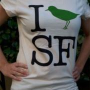 Ladies half-scoop I 'Bird' SF shirt in Natural Coton