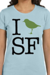 "Ladies Half-scoop I ""Bird"" SF Shirt In Sky Blue, available in all sizes."